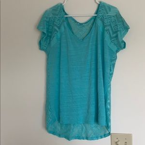 Maurices turquoise shirt with all lace back
